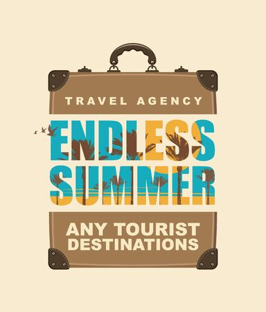 Vector banner with big travel suitcase, tropical landscape and inscriptions Endless summer, any tourist destinations. Suitable for poster, flyer, invitation, card, t-shirt design in retro style.