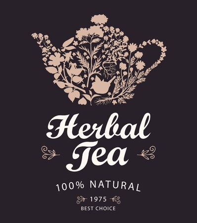 Vector banner or label for a herbal tea with calligraphic inscription on a black background. Illustration with a kettle or teapot consisting of various hand-drawn herbs Ilustrace