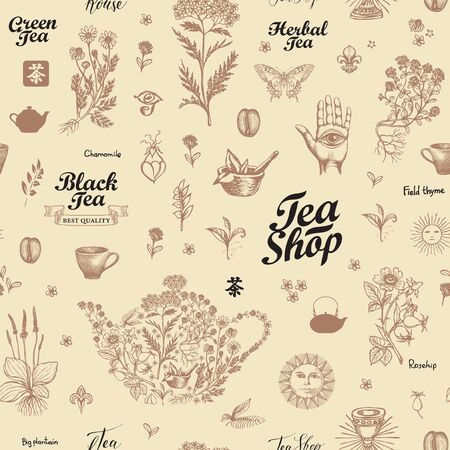 Vector seamless pattern with hand-drawn herbs, kitchen items and inscriptions. Abstract background on tea theme in retro style. Suitable for wallpaper, wrapping paper, fabric. Chinese hieroglyph Tea Ilustrace