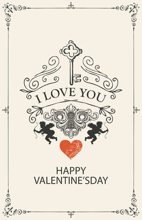 Romantic Valentine card with words I Love you in vintage style. Vector greeting card or postcard on the theme of declaration of love with key, keyhole, heart and cupids in frame with curls  イラスト・ベクター素材