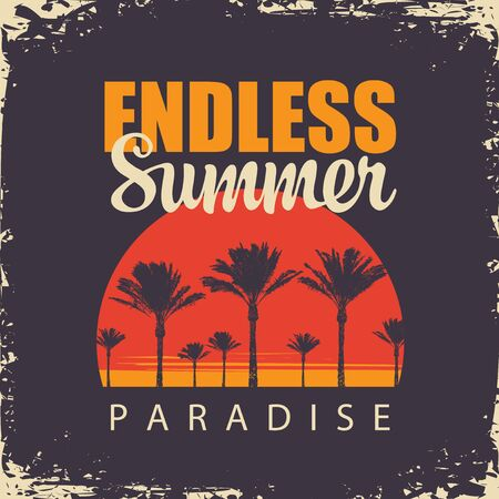 Vector banner with tropical landscape and words Endless Summer, Paradise. Silhouettes of palm trees at sunset on an old paper background. Travel poster, flyer, invitation or card in retro style.