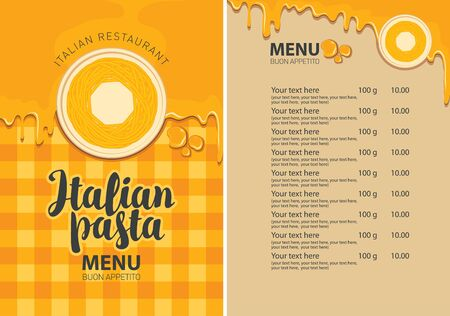 Vector menu for Italian restaurant with pasta on a plate and price list on the background of checkered tablecloth. Pasta menu in flat style