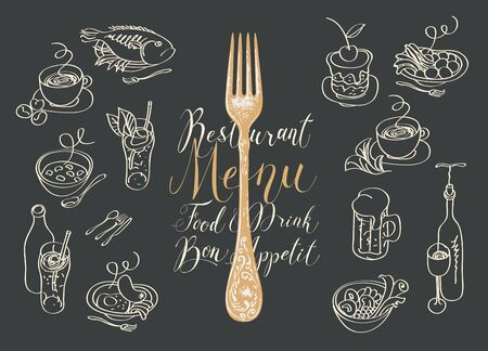 Vector menu for a restaurant or cafe with a fork, sketches of various dishes and handwritten inscriptions. Drawing chalk on the blackboard. Contour drawings in retro style. Set of design elements