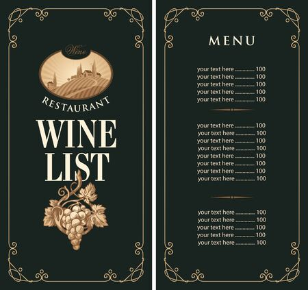 Vector Wine list with a price list in retro style on the black background. Wine menu for restaurant or cafe with hand-drawn bunch of grapes and the landscape of European village in frame with curls