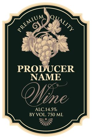 Vector wine label with hand-drawn bunch of grapes and calligraphic inscription in figured frame in retro style on the black background