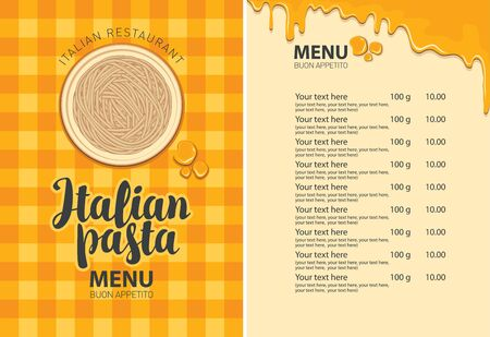 Vector menu with pasta on a plate, price list and calligraphic inscription on the background of checkered tablecloth in retro style. Pasta menu for Italian restaurant