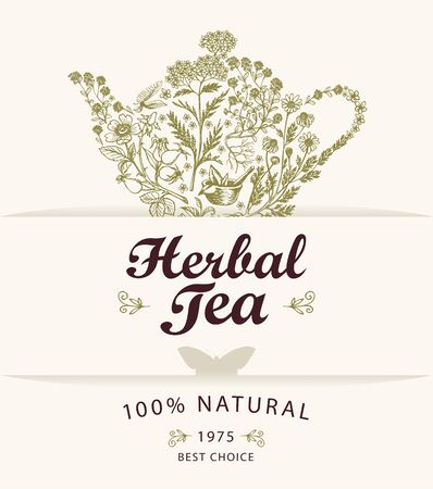 Vector banner or label for a herbal tea with doodle elements and calligraphic inscription on a light background. Illustration with a teapot or kettle consisting of various hand-drawn herbs Иллюстрация