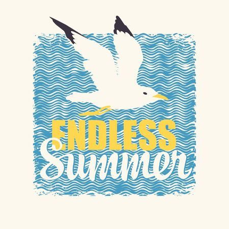 Vector travel banner with a Seagull and the words Endless Summer on the background of wavy pattern. Suitable for poster, label, flyer, invitation, card or t-shirt design in retro style