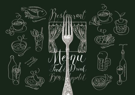 Vector menu for a restaurant or cafe with a fork, sketches of various dishes, hand-drawn curtains and handwritten inscriptions. Drawing chalk on the blackboard. Contour drawings in retro style