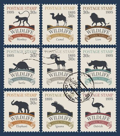 Vector set of postage stamps on the theme of wildlife animals and birds with postmarks. Philatelic collection of old stamps with silhouettes of various animals in retro style Stock Illustratie