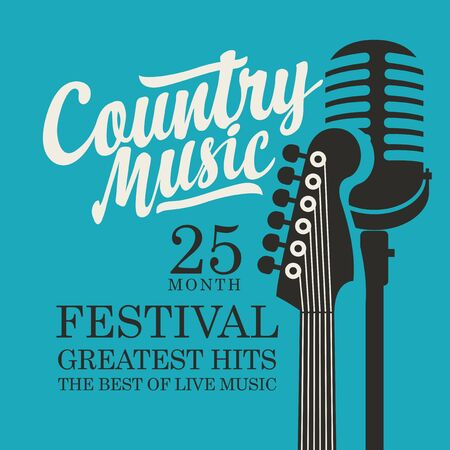 Vector poster for the country music festival with a guitar, microphone and inscription on a blue background in retro style. Suitable for banner, playbill, flyer, invitation, cover 矢量图像