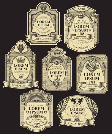 Insieme di vettore delle etichette disegnate a mano decorate su sfondo nero. Collezione di etichette vintage decorate da nastri, corone, angeli, riccioli in cornici figurate con posto per il testo