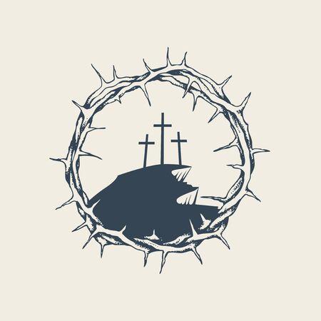 Banner vettoriale, icona o emblema con il monte Calvario e tre croci all'interno di una corona di spine. Illustrazione religiosa sul tema della Pasqua e del Venerdì Santo