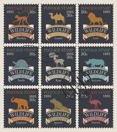 Vector set of old postage stamps on the theme of animals and wildlife with postmarks in retro style. Philatelic collection of stamps with silhouettes of various animals on black background