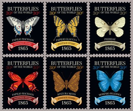Vector set of old postage stamps with various bright beautiful butterflies and their names on the black background in retro style Vektorové ilustrace