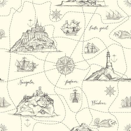 Reticolo senza giunte astratto di vettore sul tema del viaggio, avventura e scoperta. Una vecchia mappa disegnata a mano con isole, rotte punteggiate, fari, barche a vela e iscrizioni scritte a mano in stile retrò