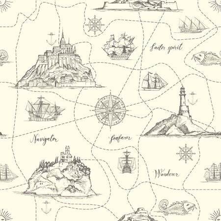 Vector abstract seamless pattern on the theme of travel, adventure and discovery. An old hand-drawn map with Islands, dotted routes, lighthouses, sailboats, and handwritten inscriptions in retro style