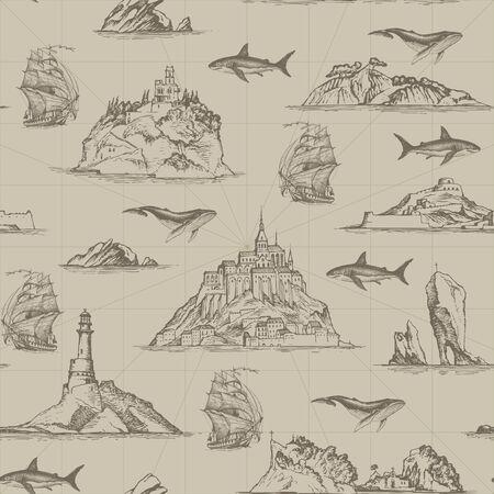 Vektornahtloses Muster zum Thema Reisen, Abenteuer und Entdeckung. Wiederholbarer Hintergrund mit handgezeichneten Inseln, Leuchttürmen, Segelbooten, Fischen. Geeignet für Tapeten, Geschenkpapier, Stoff Vektorgrafik