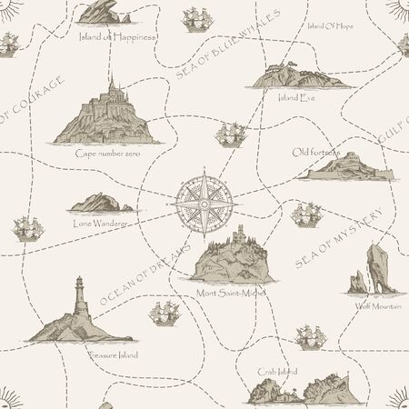 Vector abstract seamless pattern on the theme of travel, adventure and discovery. Old hand-drawn map with Islands, lighthouses, sailboats, and dotted routes in retro style