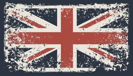 Vector banner with the flag of the UK in the grunge style on a dark background. Symbolism of the Great Britain. Suitable for t-shirt print, label, poster, banner, postcard, flyer, design element