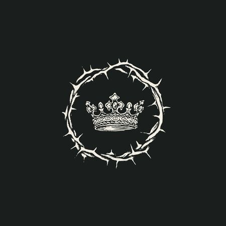 Vector banner on the theme of Easter with a crown of thorns and a crown on the black background. Black and white religious illustration