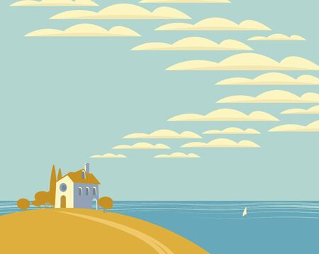 Vector seascape with a village house on a hill and sky with clouds on the background of the sea with a sailboat. Decorative childish illustration in cartoon style.