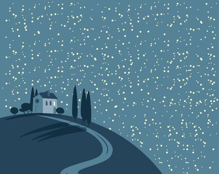 Vector night landscape with a lonely village house on a hill against a starry sky with clouds. Decorative childish illustration in cartoon style. 向量圖像