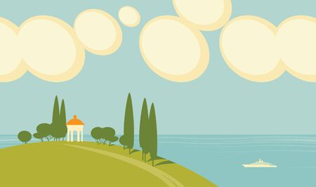 Vector seascape with a white gazebo on a hill on the background of the sea with a ship and sky with clouds. Decorative childish illustration in cartoon style.
