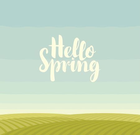 Vector cartoon landscape with green fields, blue sky and calligraphic inscription Hello spring. Decorative illustration or background in flat style. 向量圖像