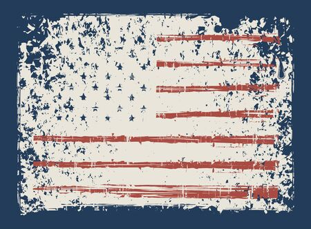 Vector banner with the flag of United Stated of America in grunge style on the dark blue background. Symbolism of the USA. Suitable for t-shirt print, poster, banner, postcard, flyer, design element