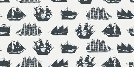 Vector seamless pattern on the theme of nautical travel, adventure and discovery with silhouettes of various sailing ships in retro style. Suitable for background, wallpaper, wrapping paper, fabric