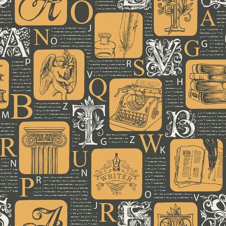 Vector seamless pattern with ornate initial letters and sketches on printed pages background. Illegible text, capital letters and literary illustrations. Suitable for Wallpaper, wrapping paper, fabric