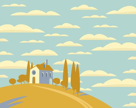 Vector landscape with a village house on a hill and the sky with clouds. Decorative childish illustration in cartoon style. 向量圖像
