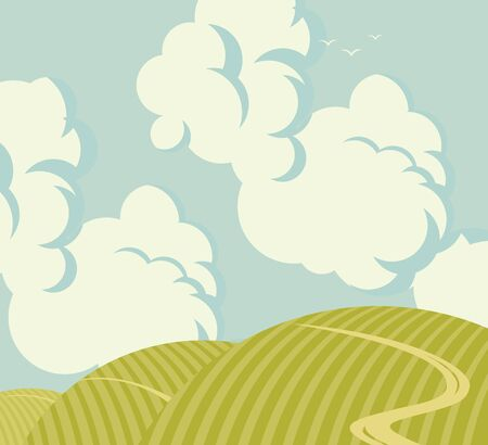 Vector landscape with green hills, road and sky with clouds. Decorative illustration or background in cartoon style.