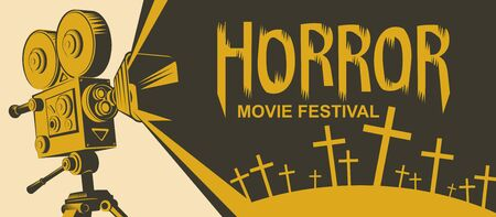 Vector poster for a horror movie festival. Illustration with an old movie projector and cemetery crosses. Scary cinema. Horror film night. Suitable for banners, flyers, tickets, billboards Illustration
