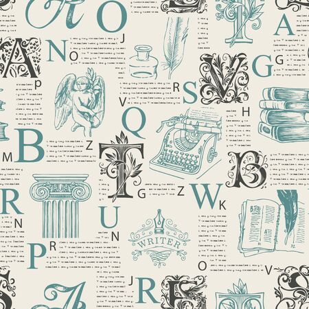 Vector seamless pattern with ornate initial letters and literary images on printed pages background. Unreadable text, capital letters and sketches. Suitable for Wallpaper, wrapping paper, fabric
