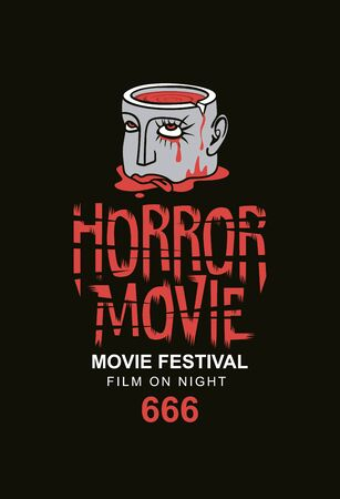 Vector banner for a horror movie festival. Severed human head with blood tears in a puddle of blood. Horror film night. Suitable for tickets, flyers, posters, web design. Scary cinema.