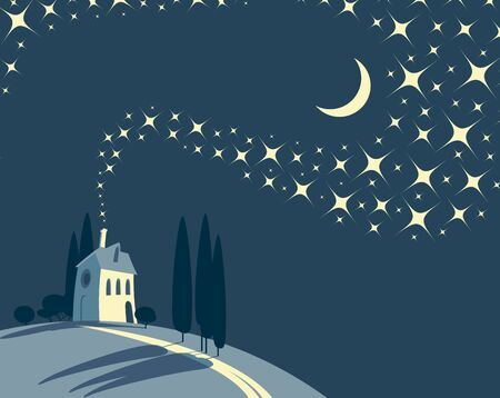 Decorative night landscape with a lonely village house on a hill against a starry sky with new moon. Vector childish illustration in cartoon style.