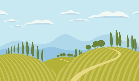 Vector landscape with green hills, road, mountains and sky with clouds. Decorative childish illustration or background in cartoon style. Ilustracja