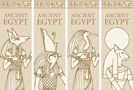 Set of vector banners with Egyptian gods - Horus, Thoth, Anubis, goddess Bastet. Advertising posters or flyers for travel agency with Egyptian hieroglyphs and inscription Ancient Egypt.