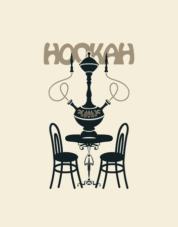 Vector banner for a restaurant, cafe or club with a hookah. Decorative illustration with a table for two and a hookah with two Smoking devices in retro style