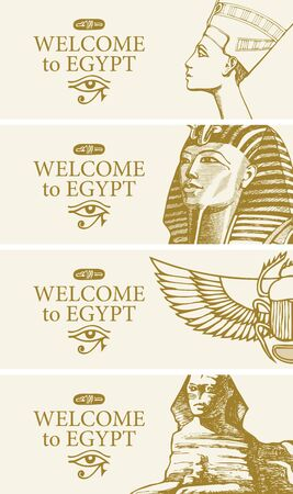 Set of vector travel banners with hand-drawn images of Nefertiti, Tutankhamun, scarab and Sphinx. Advertising flyers or posters for travel agency with Egyptian attractions and words Welcome to Egypt.