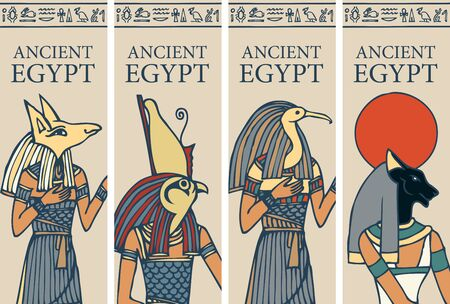 Set of vector posters or flyers for travel agency with Egyptian hieroglyphs and inscription Ancient Egypt. Advertising banners with Egyptian gods - Horus, Thoth, Anubis, goddess Bastet. Ilustración de vector
