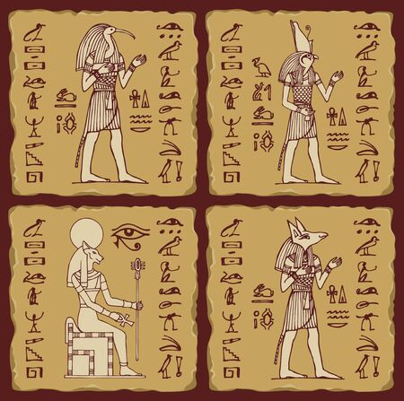 Set of vector banners in the form of ceramic tiles with hieroglyphs and Egyptian gods. Illustrations on the theme of Ancient Egypt in retro style. Advertising posters or flyers for travel Agencies  イラスト・ベクター素材
