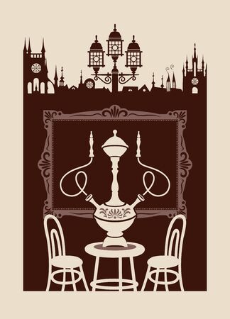 Vector banner for a restaurant or cafe with a hookah in retro style. Decorative illustration with a table for two and a hookah with two Smoking devices on the background of old town and picture frame