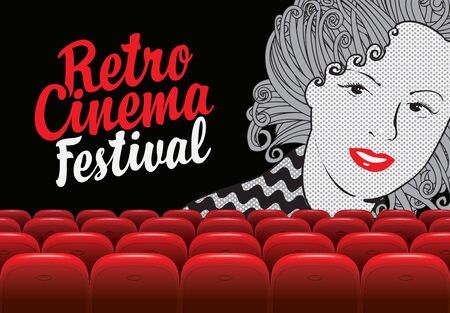 Vector poster for retro cinema festival with calligraphic inscription and girls face. Cinema hall with big screen and red seats. Empty movie theatre. Suitable for advertising banner, flyer, background