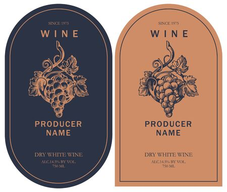 Set of two vector wine labels with hand-drawn bunch of grapes and calligraphic inscription in retro style in black and orange colors.