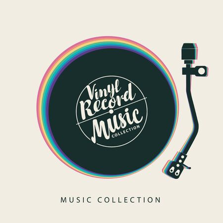 Vector poster for Music collection with vinyl record, record player and calligraphic inscription with rainbow decoration. Suitable for flyer, invitation, playbill, banner, cover, advertisement