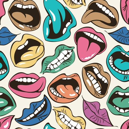 Vector seamless pattern with colored lips with different emotions. Woman mouth with a kiss, smile, tongue and teeth on light background. Cartoon lips collection. Wallpaper, wrapping paper, fabric Иллюстрация