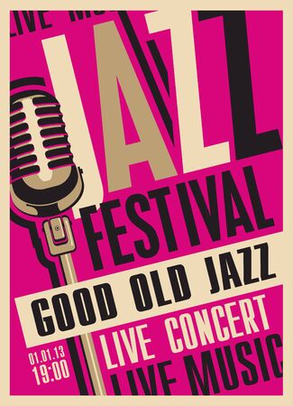 Vector poster for a jazz festival or concert of live music with a microphone in retro style on the crimson background with place for text. Good old jazz.